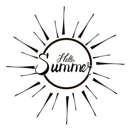 Hallo zomer, achtergrond. Leuk citaat hipster ontwerp logo of label. Hand belettering inspirerende typografie poster, banner.