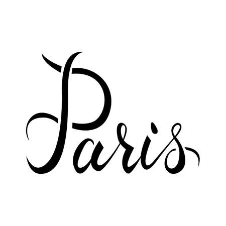 Paris. Ink hand lettering. Modern brush calligraphy. Handwritten phrase. Inspiration graphic design typography element.