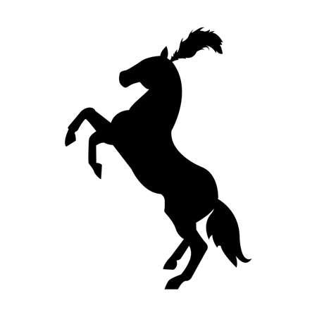 頭、馬のロゴのバッジに羽とサーカスの馬シルエット  イラスト・ベクター素材