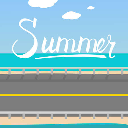 Hand drawn lettering composition of Summer. Handwritten calligraphy design. Summer background Road to the beach Illustration