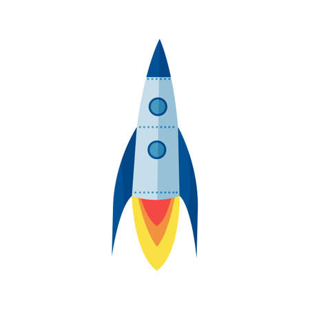 Space rocket icon in cartoon style isolated on white background
