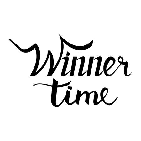 accordance: time to winner hand lettering text. Badge drawn by , using the skills of calligraphy, collected in accordance with rules typography