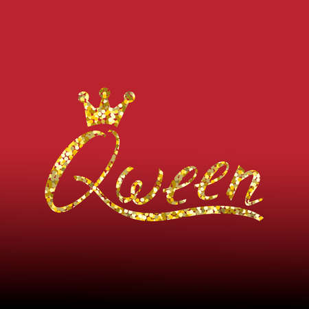 Modern gold brush inscription Queen with crown isolated on red background Illustration