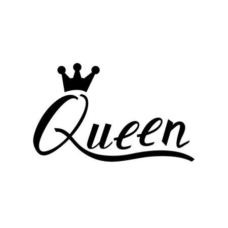 Inscription brush Queen with a crown on a white background.