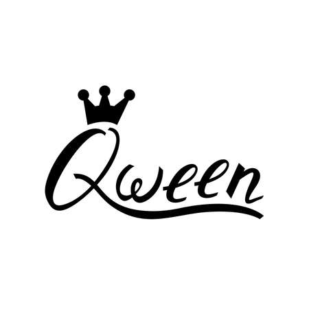 Modern brush inscription Queen with crown isolated on white background. Illustration