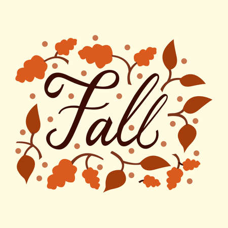 Modern brush phrase Fall. Background with the image of a leaf fall. Autumn with leaves.