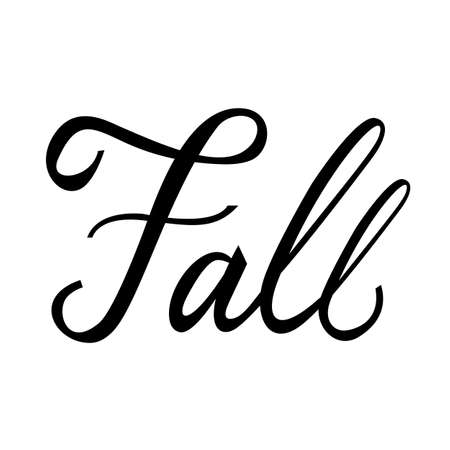 Modern brush phrase Fall. Word of Autumn isolated on white background. Illustration