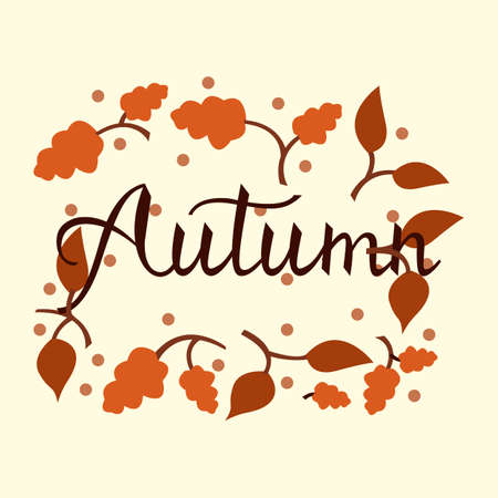 Modern brush phrase autumn. Background with the image of a leaf fall. Autumn with leaves. Illustration