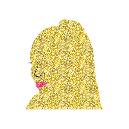 African gold black woman. avatar female head. silhouette of woman with red lips and tail Illustration