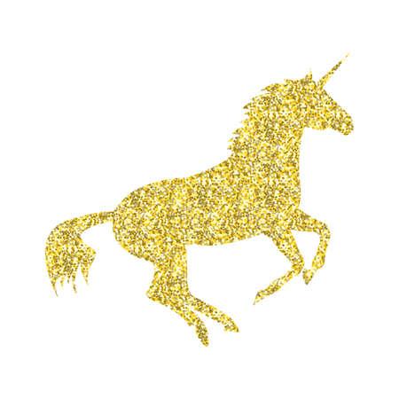 Gouden Eenhoorn mythische paard in silhouet staande op achterpoten Stock Illustratie
