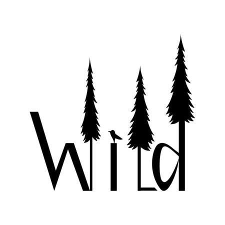 Logo immagine selvaggia di lettere e foreste isolati su sfondo bianco. Testo selvatico