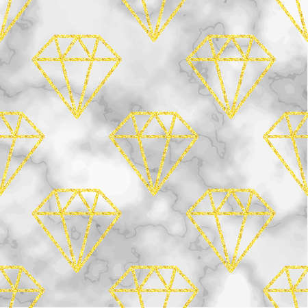 Marble background with golden diamond . Trend colors