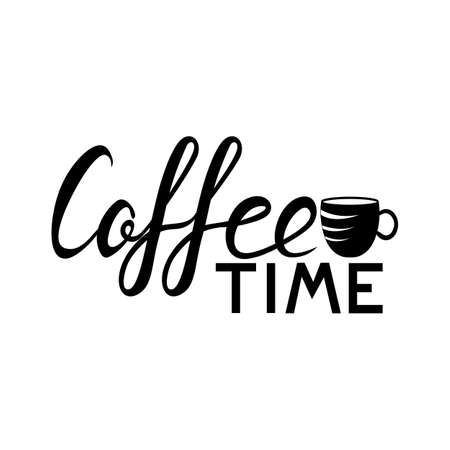 Coffee lettering, logo, list, menu Coffee cup for coffee time