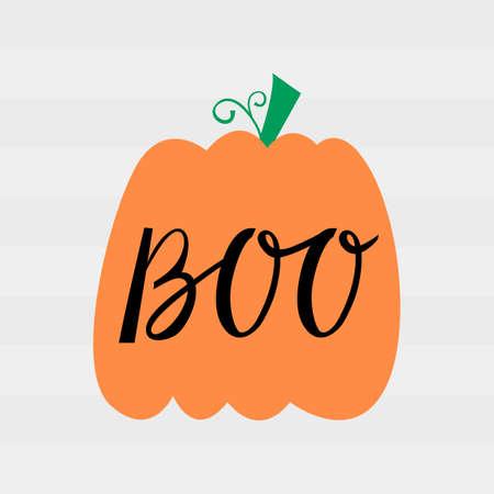 Halloween pumpkin with inscription brush boo. Halloween Poster with Pumpkin Illustration