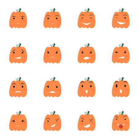 Halloween pumpkin icons set, Emotion Variation. Simple flat style design elements. Set of silhouette spooky horror images of pumpkins.