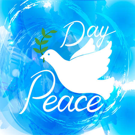 Peace dove with olive branch for International Peace Day poster. Inscription brush Day of Peace on watercolor background