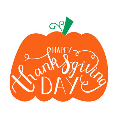 hand drawn thanksgiving lettering greeting phrase happy thanksgiving day on pumpkin Illustration