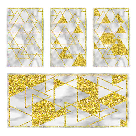 Marble black background with golden geometry. Trend colors Illustration