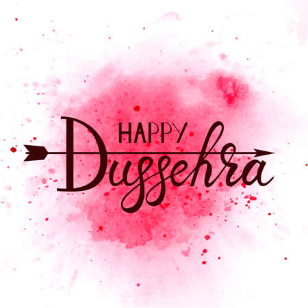 Creative illustration with stylish typography happy dussehra on watercolor background.