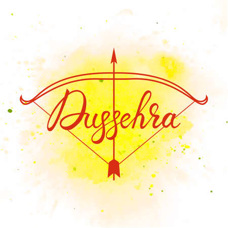 Creative illustration with stylish typography dussehra on watercolor background.