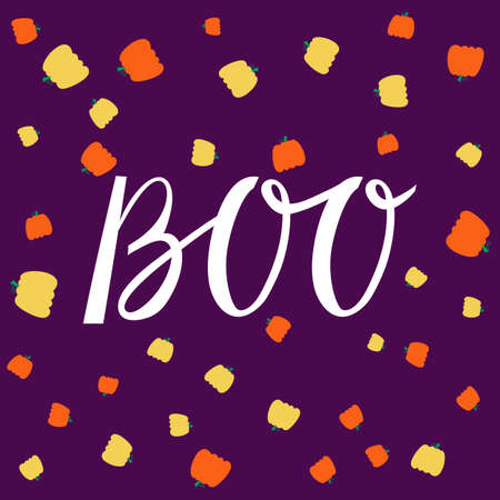 Boo modern inscription on background with pumpkins for Halloween