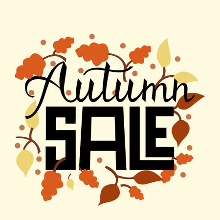 Modern brush phrase autumn sale. Background with the image of a leaf fall. Fall sale.