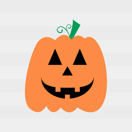 Halloween Poster with pumpkin cheerful smile on white background Illustration