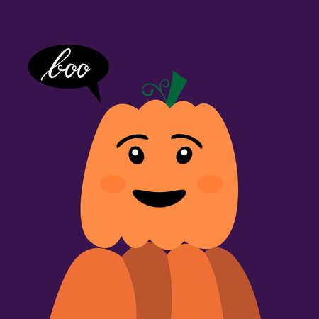 Halloween kawaii pumpkin with inscription brush boo. Halloween Poster with kawaii Pumpkin Illustration