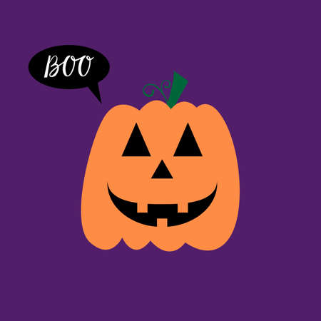 Halloween Poster with pumpkin cheerful smile on background