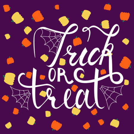 Trick or treat modern brush inscription. Illustrated phrase for Halloween on background with pumpkins Illustration