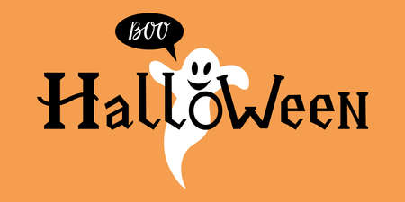 word halloween with ghost on white background royalty free cliparts