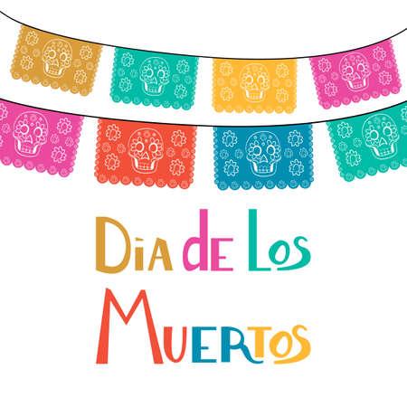Dia de Los Muertos, Mexicaanse Dag van de Doodskaart, uitnodiging. Feestelijke decoratie, lintreeks, handgemaakte gesneden papieren vlaggen, schedel, bloemen decor. Oude houten achtergrond.