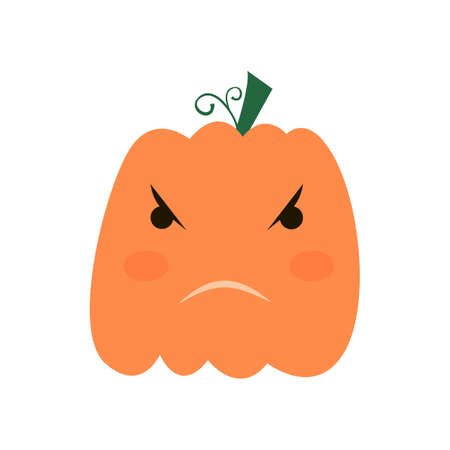 Halloween pumpkin icon, Emotion Variation. Simple flat style design elements. Set of silhouette spooky horror images of pumpkins.