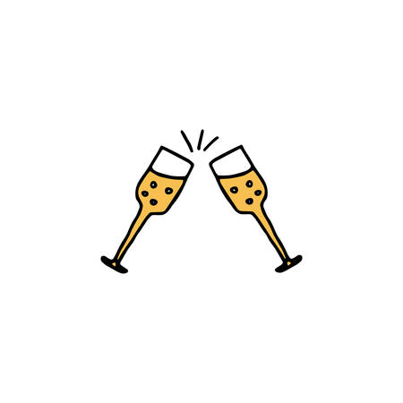 Two glasses of champagne hand drawn icon Illustration