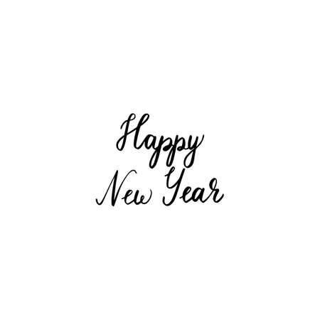 Hand brush lettering happy new year  isolated on a white background