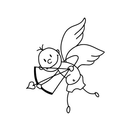 Cute cupid icon in cartoon style isolated on white background
