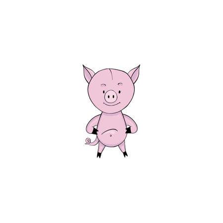 Pig cartoon icon isolated on white background Illustration