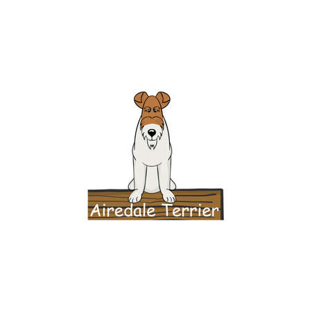 Airedale Terrier cartoon dog icon isolated on white background Illustration