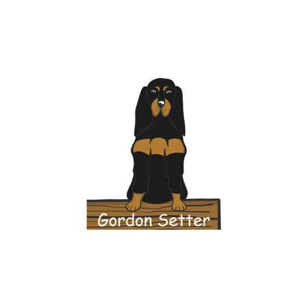 Gordon setter cartoon dog icon. Isolated on white background.
