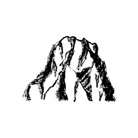 Mountain icon vintage isolated on white background Illustration