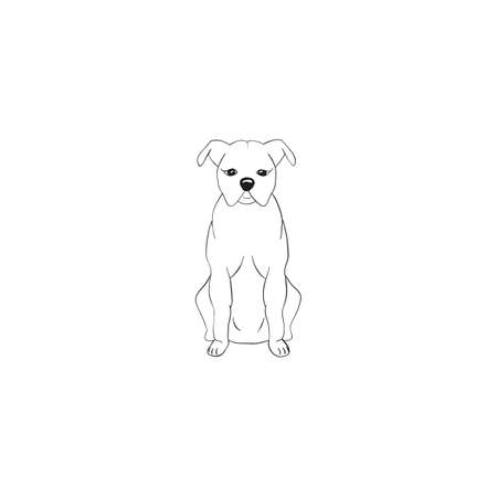 American staffordshire terrier cartoon dog icon isolated on white background. Illustration