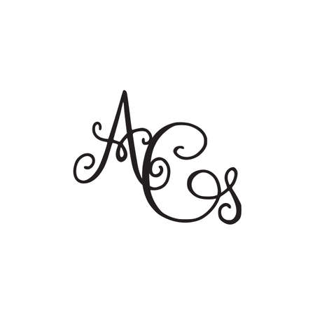 Handwritten monogram AG icon with swirls isolated on white background.