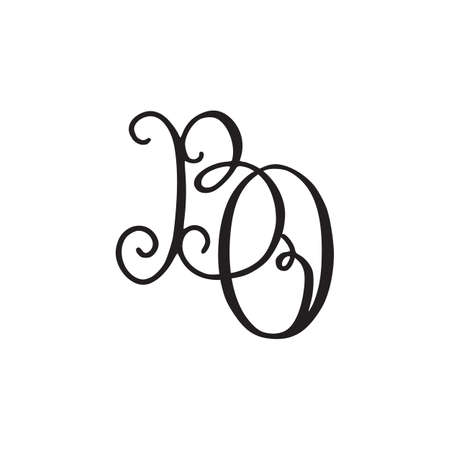 Handwritten monogram BO icon with swirls isolated on white background.