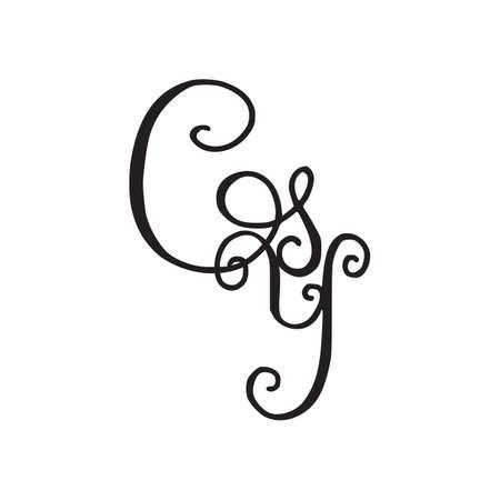 Handwritten monogram GY icon, with swirls isolated on white background Vektoros illusztráció