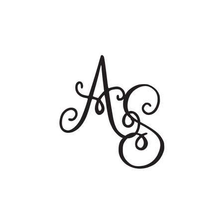 Handwritten monogram AS icon, logo with swirls isolated on white background