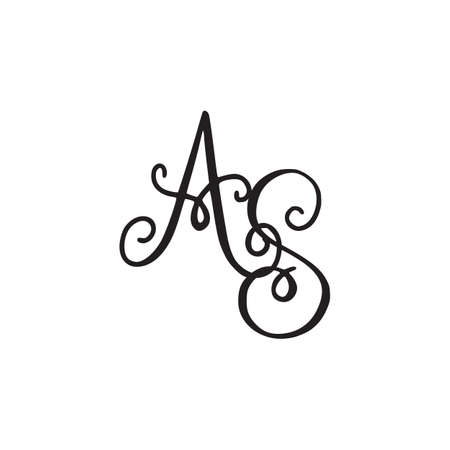 Handwritten monogram AS icon, logo with swirls isolated on white background