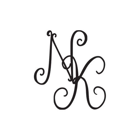 Handwritten monogram NK icon, logo with swirls isolated on white background Illusztráció