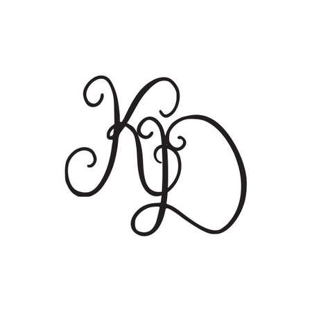Handwritten monogram KD icon, logo with swirls isolated on white background Logó