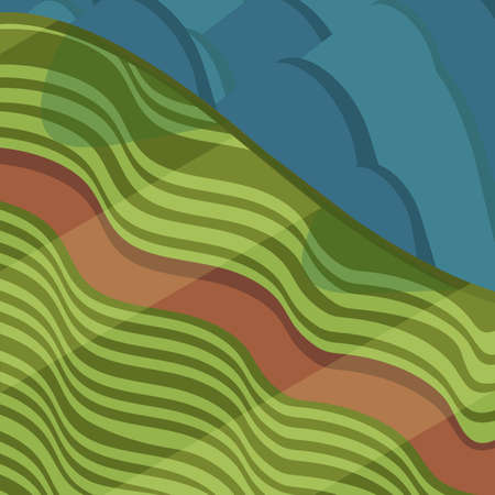 Valley with road and mountains in isometric view Vector illustration. Ilustração