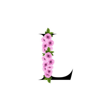 Letter L floral ornament isolated on white background Ilustrace